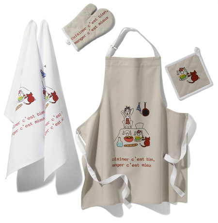 tablier, gant, torchons